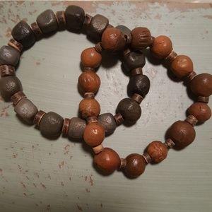 Pair of ceramic/wood bead bracelets